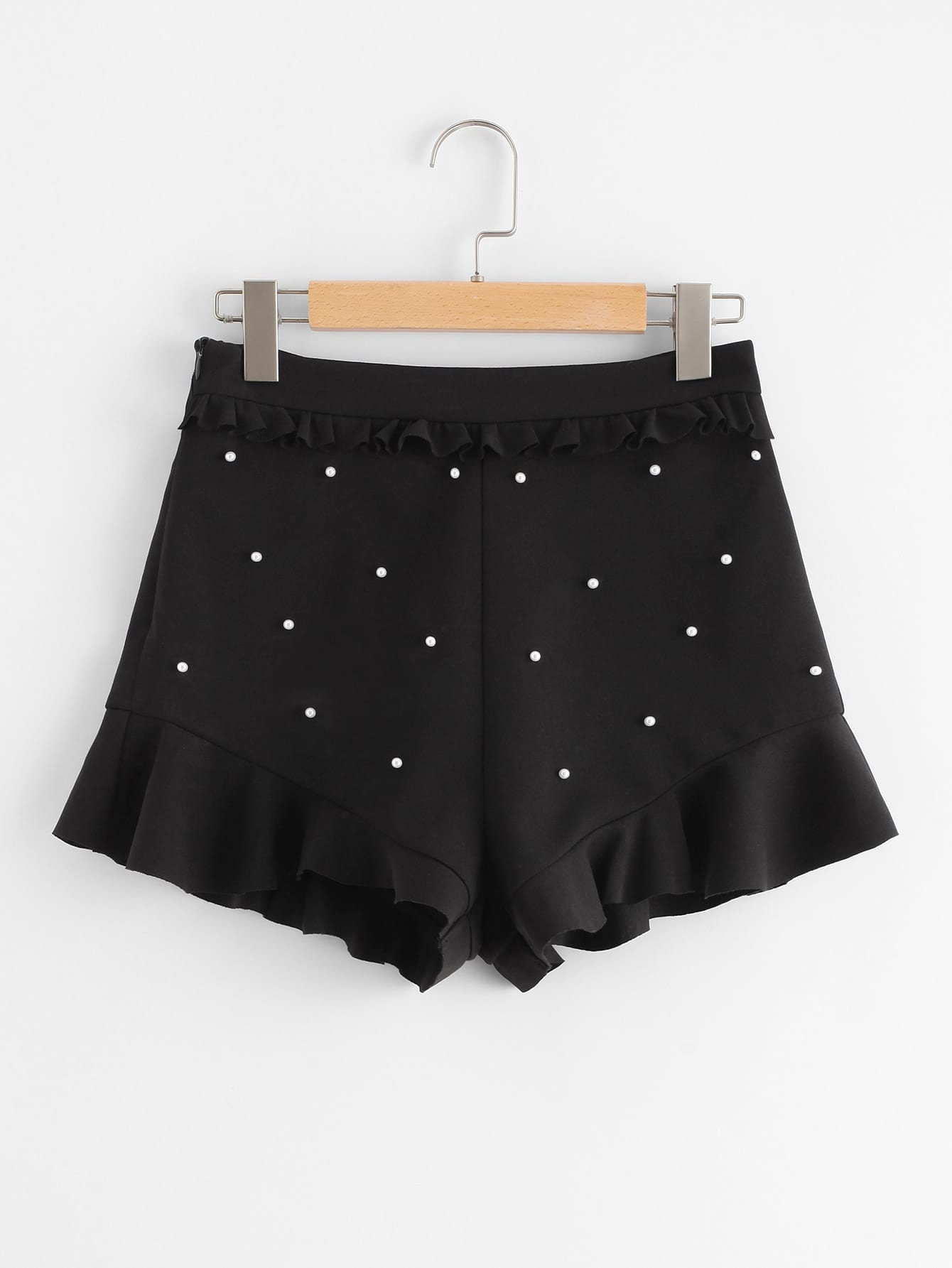 Pearl Embellished Ruffle Detail Shorts