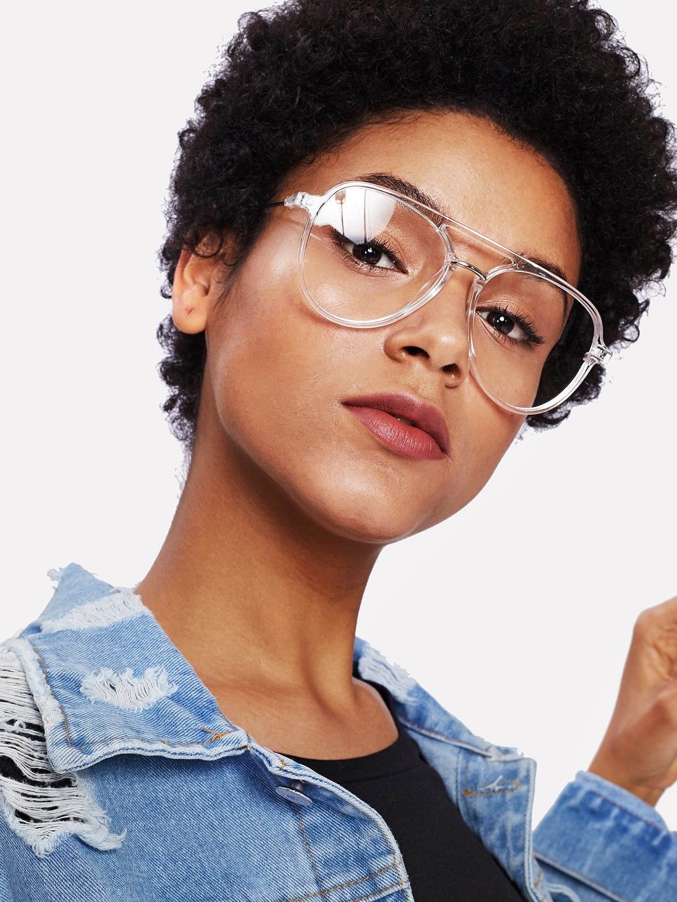 Double Bridge Clear Frame Glasses
