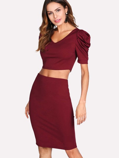 V Neck Crop Tee And Split Back Skirt Set