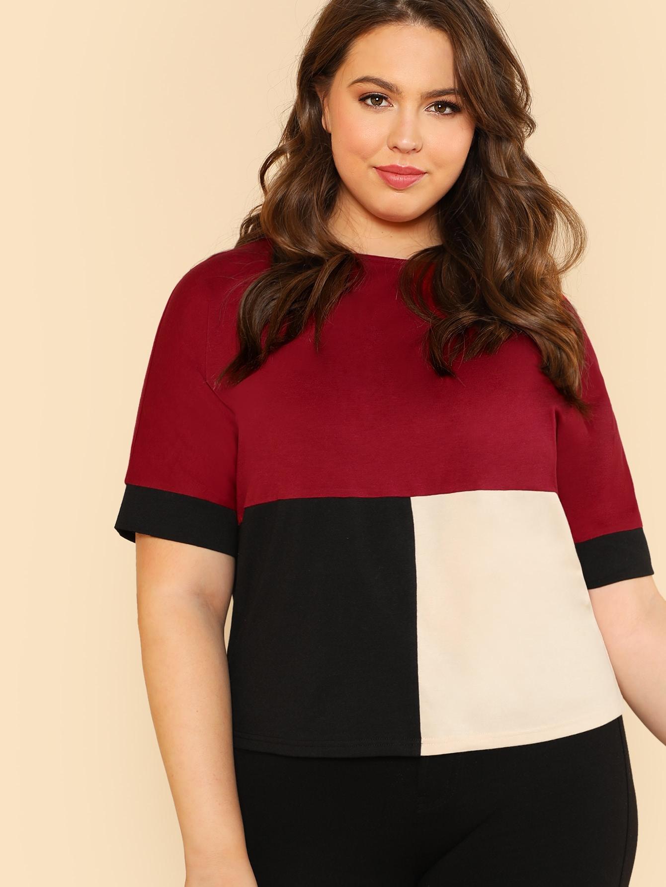 Купить Контрастная модная футболка, Bailey Carr, SheIn
