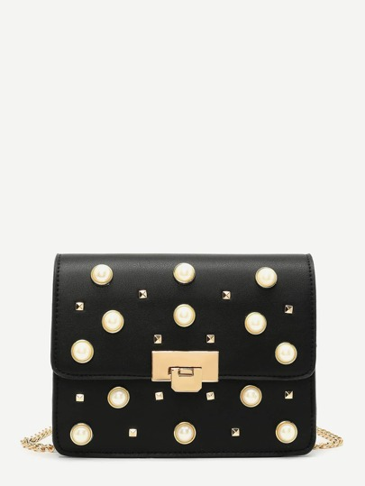 Faux Pearl Detail Clutch Bag