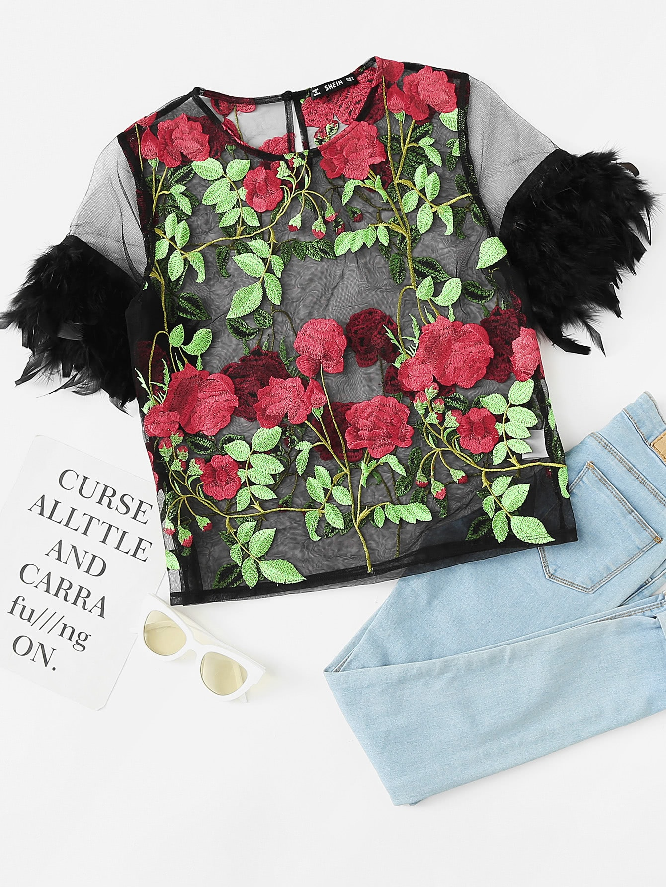 Floral Embroidered Faux Feather Embellished Mesh Top faux ostrich feather fur nipple covers