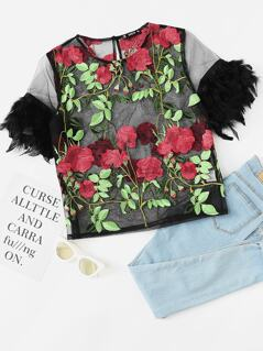 Floral Embroidered Faux Feather Embellished Mesh Top