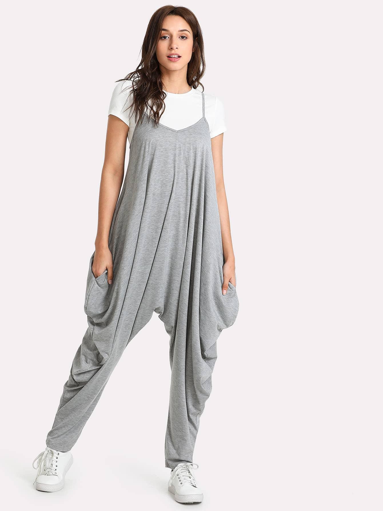 Drop Crotch Heather Knit Cami Jumpsuit drop crotch loose two tone pants