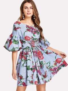 Lantern Sleeve Plaid And Flower Print Dress