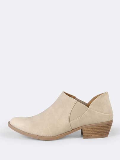 Pointy Toe Nubuck Ankle Booty STONE