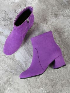 Faux Suede Chunky Heel Round Toe Bootie PURPLE