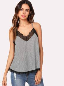 Lace Insert Plaid Cami Top