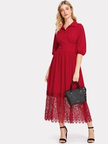 Bishop Sleeve Lace Hem Wide Waist Dress