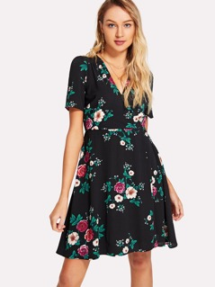 Allover Flower Print Wrap Dress