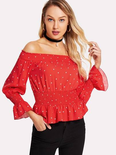Shirred Detail Polka Dot Bardot Top
