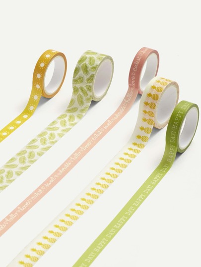 Fruit & Leaf Print Masking Tape 5 Pcs