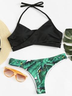 Criss Cross Halter Top With Tropical Print Bikini Set