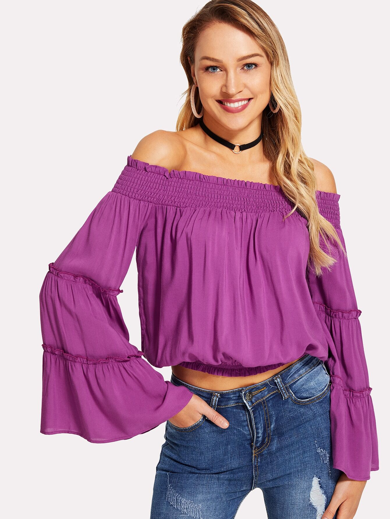 Frilled Bell Sleeve Bardot Blouse frilled bardot neck layered bell sleeve top
