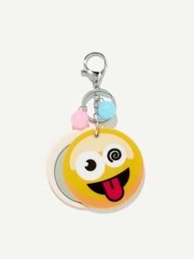 Random Color Ball Emoji Round Keychain