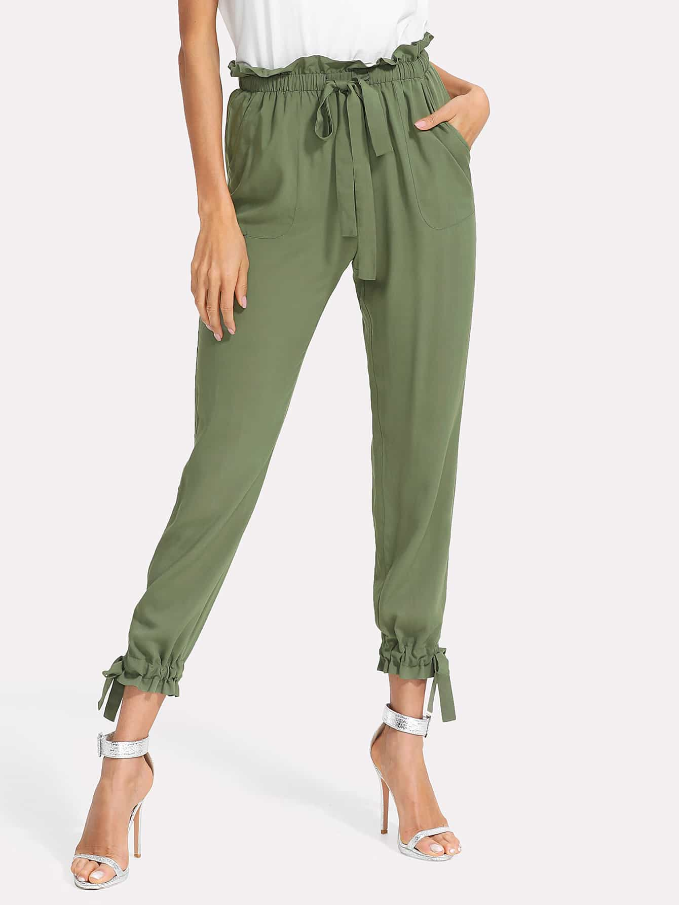 Модные брюки с оборкой SheIn