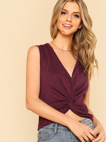 Twist Front Solid Sleeveless Top