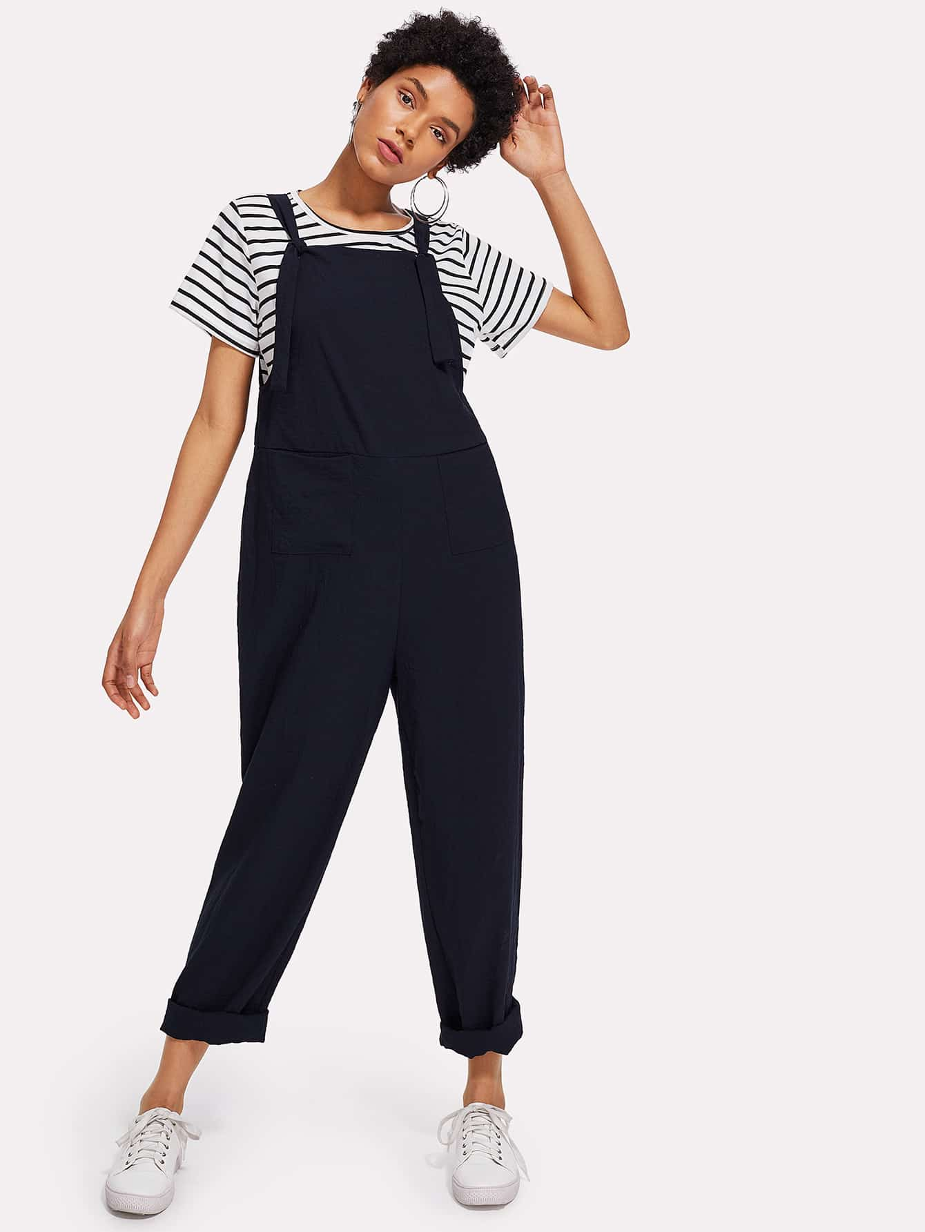Tied Strap Pocket Front Pinafore Jumpsuit ring detail striped pinafore jumpsuit
