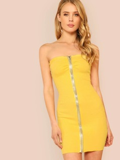Double Zipper Denim Tube Dress YELLOW