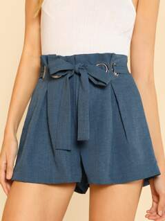 O-Ring Detail Self Belted Shorts