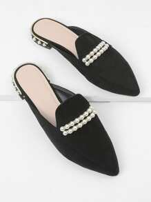 Faux Pearl Pointed Toe Flats