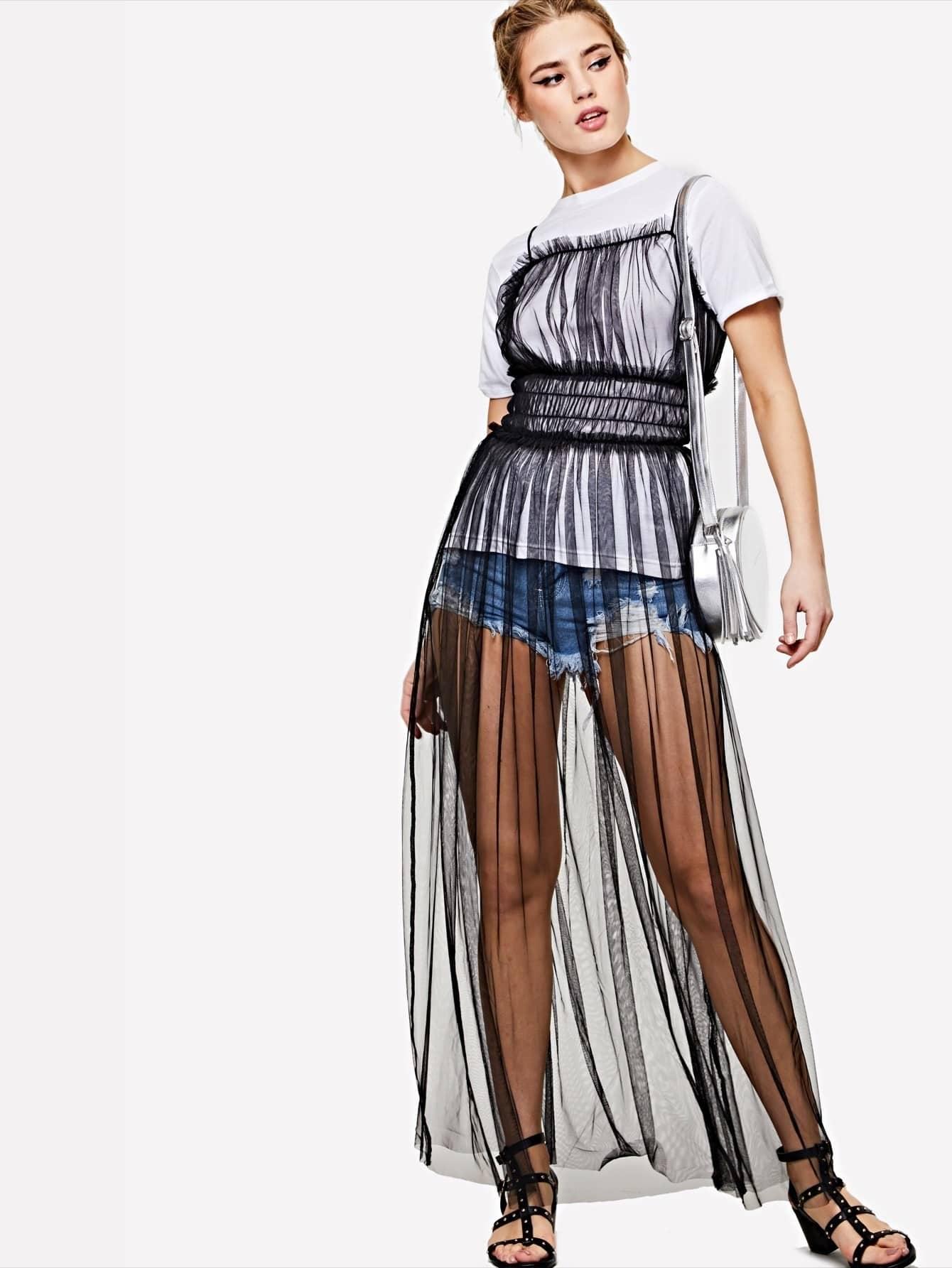 Frilled Shirred Waist Mesh Cover Up Dress shirred waist zip back fit