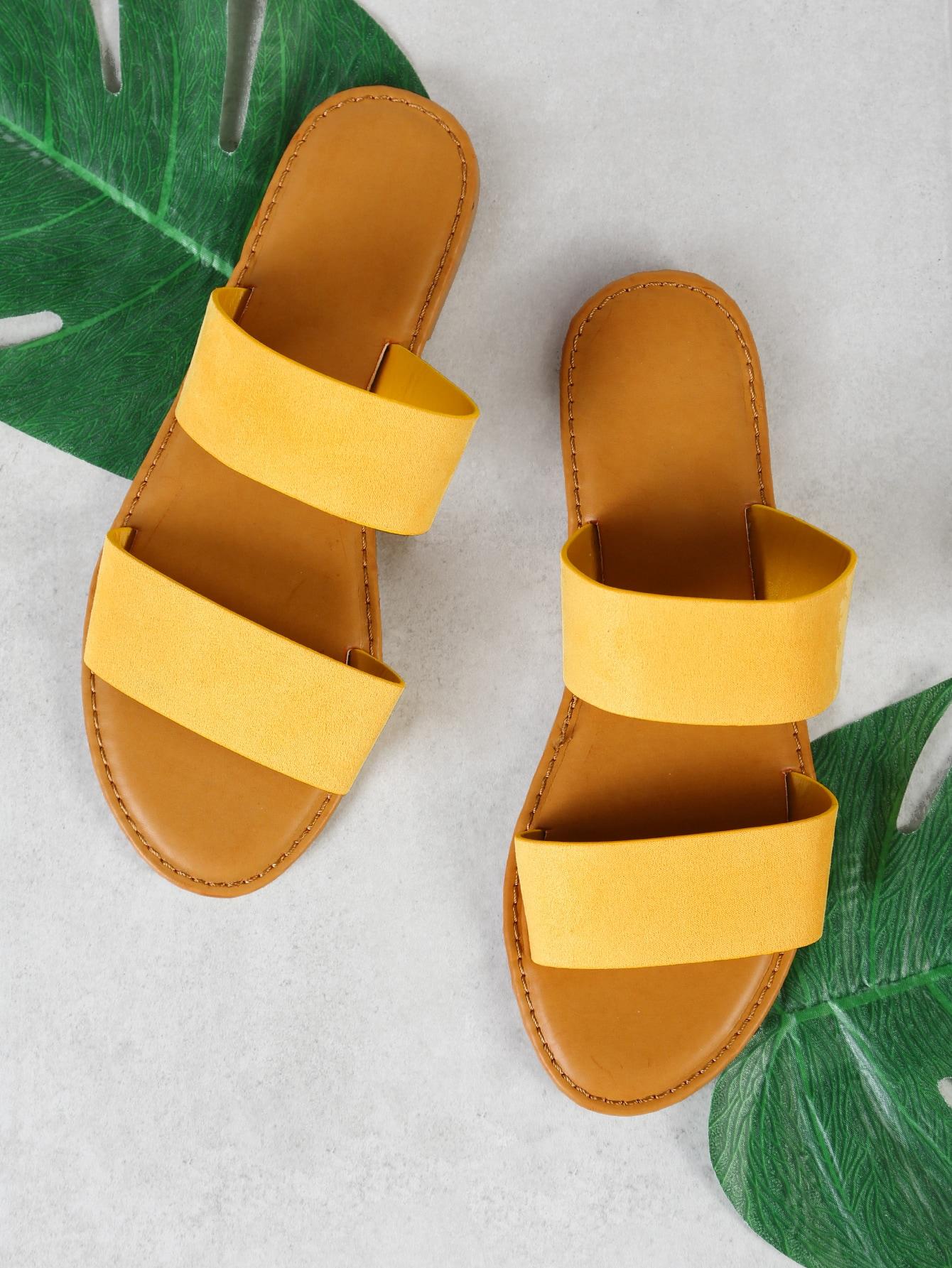 Double Band Slide Sandal YELLOW double band slide sandal black