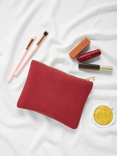 Suede Makeup Bag
