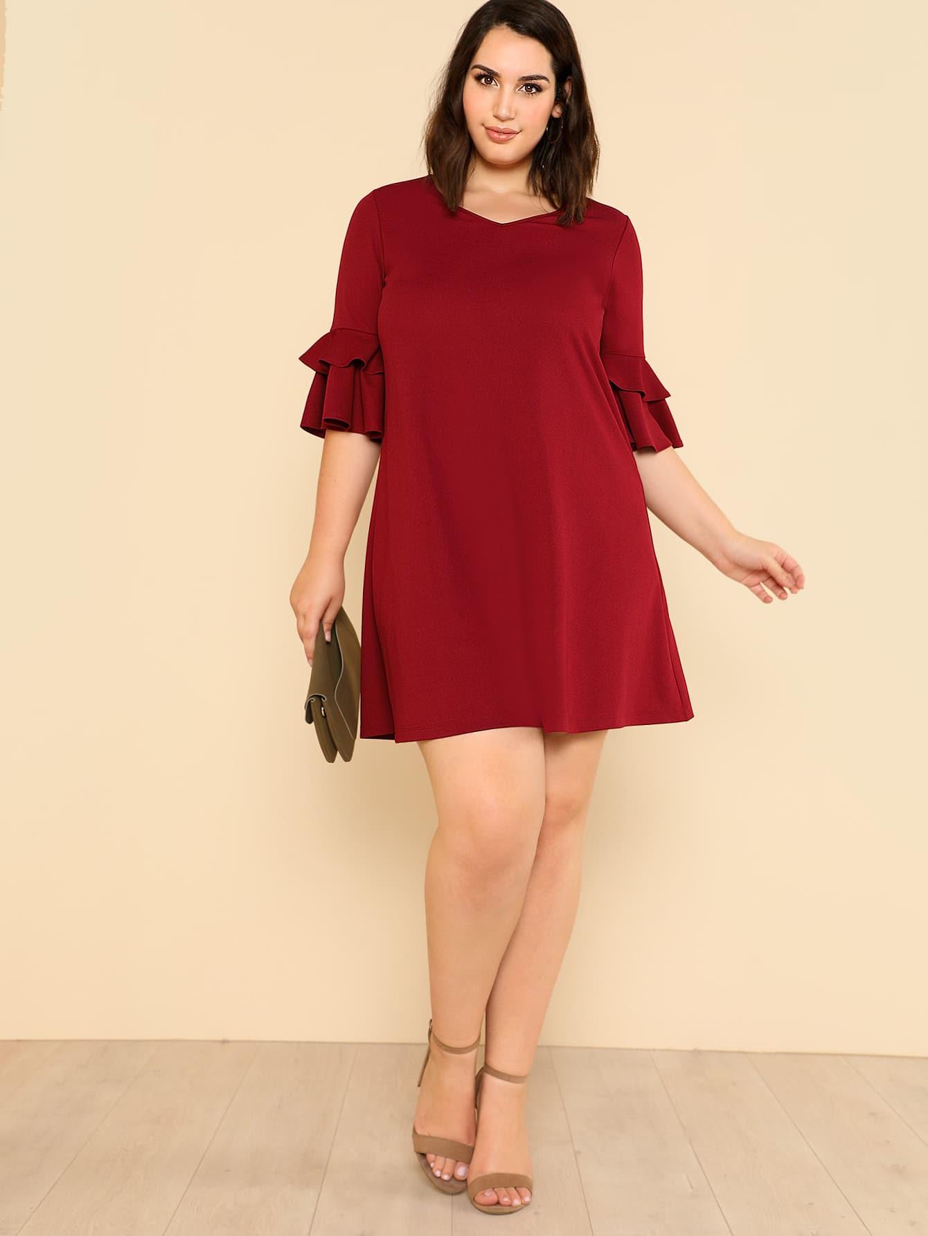 Flounce Sleeve Solid Swing Dress long sleeve solid swing dress