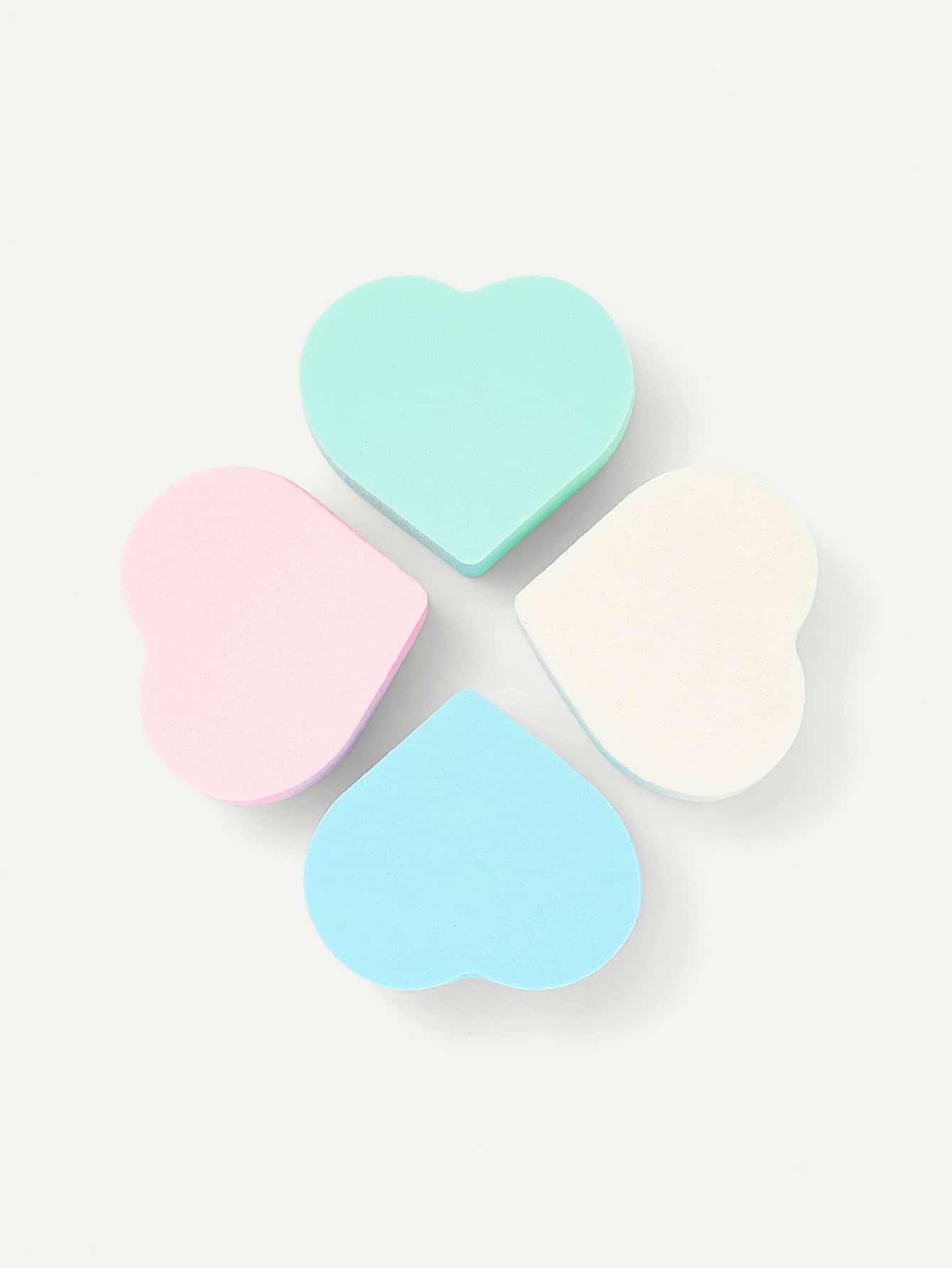 Heart Shaped Sponge Puff 4pcs