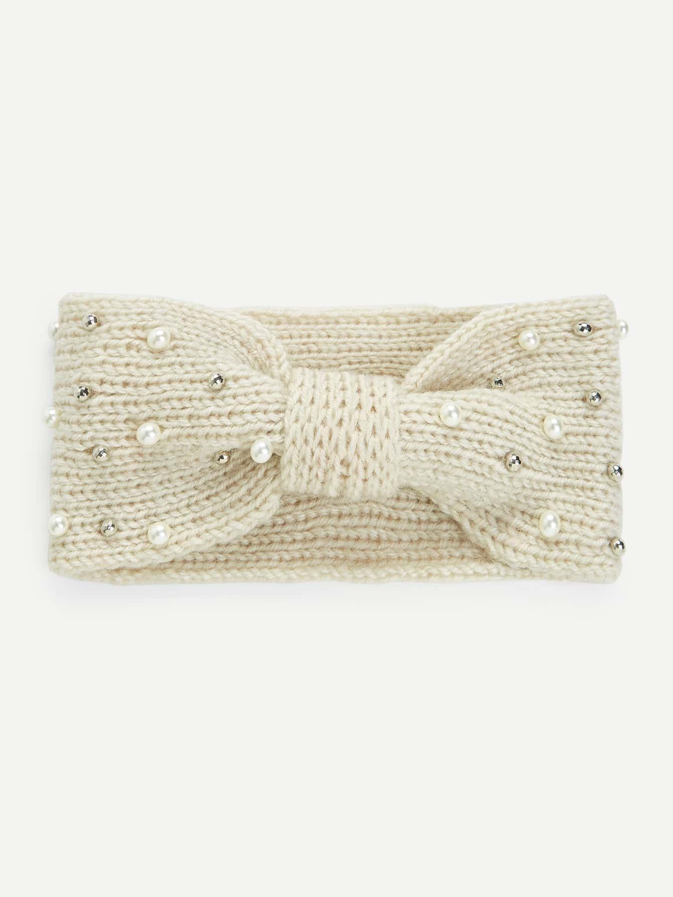 Faux Pearl Knot Knit Headband