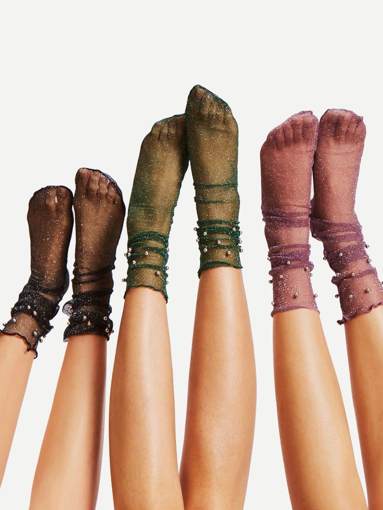 Metal Ball Detail Ankle Socks 3Pairs