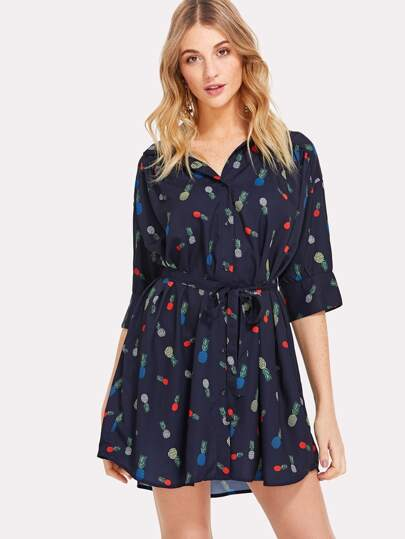 Self Belted Fruit Print Dress