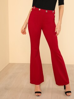 Ponti Verona Front Button Detail Bell Bottom Pants DEEP RED