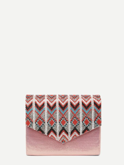 Beaded Detail Flap Clutch Bag With Chain