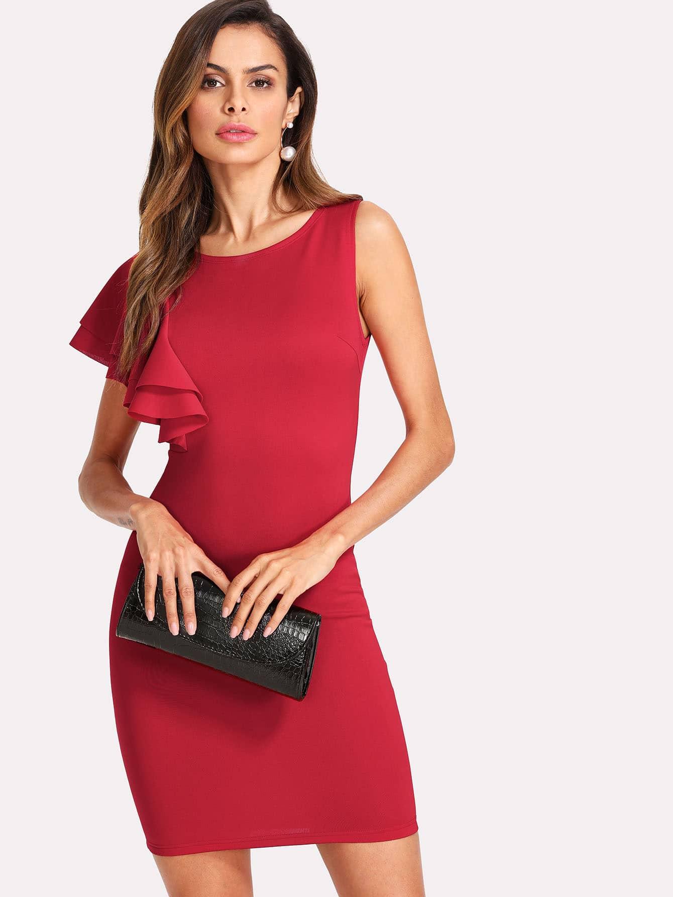 One Side Ruffle Trim Solid Dress one side ruffle trim solid dress
