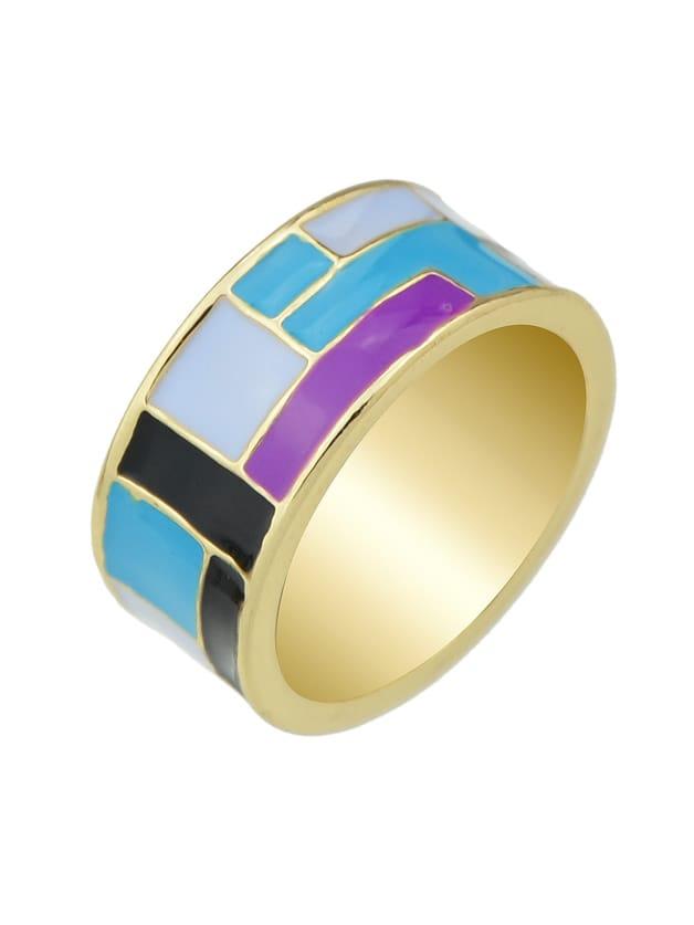Purple-8 Enamel Geometric Pattern Finger Rings 3pcs set hyperbole geometric circle v shape finger rings