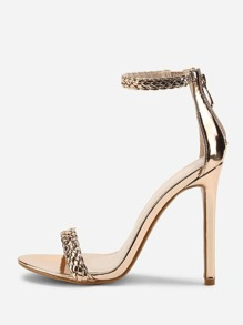 Woven Strappy PU Stiletto Heels