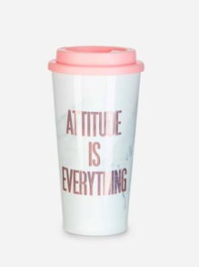 Slogan Print Bottle With Cover