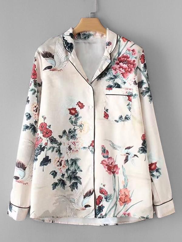 Купить Контрастная модная блуза с цветочным принтом, null, SheIn