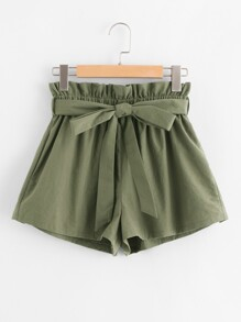 Ruffle Waist Self Belt Shorts