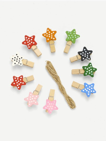 Star Shape Wooden Clips 10Pcs