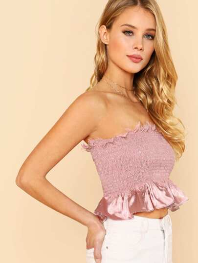 Lace Trim Ruffle Hem Smocked Tube Top BLUSH