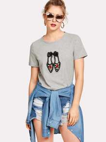Lovely Shoes Applique T-shirt