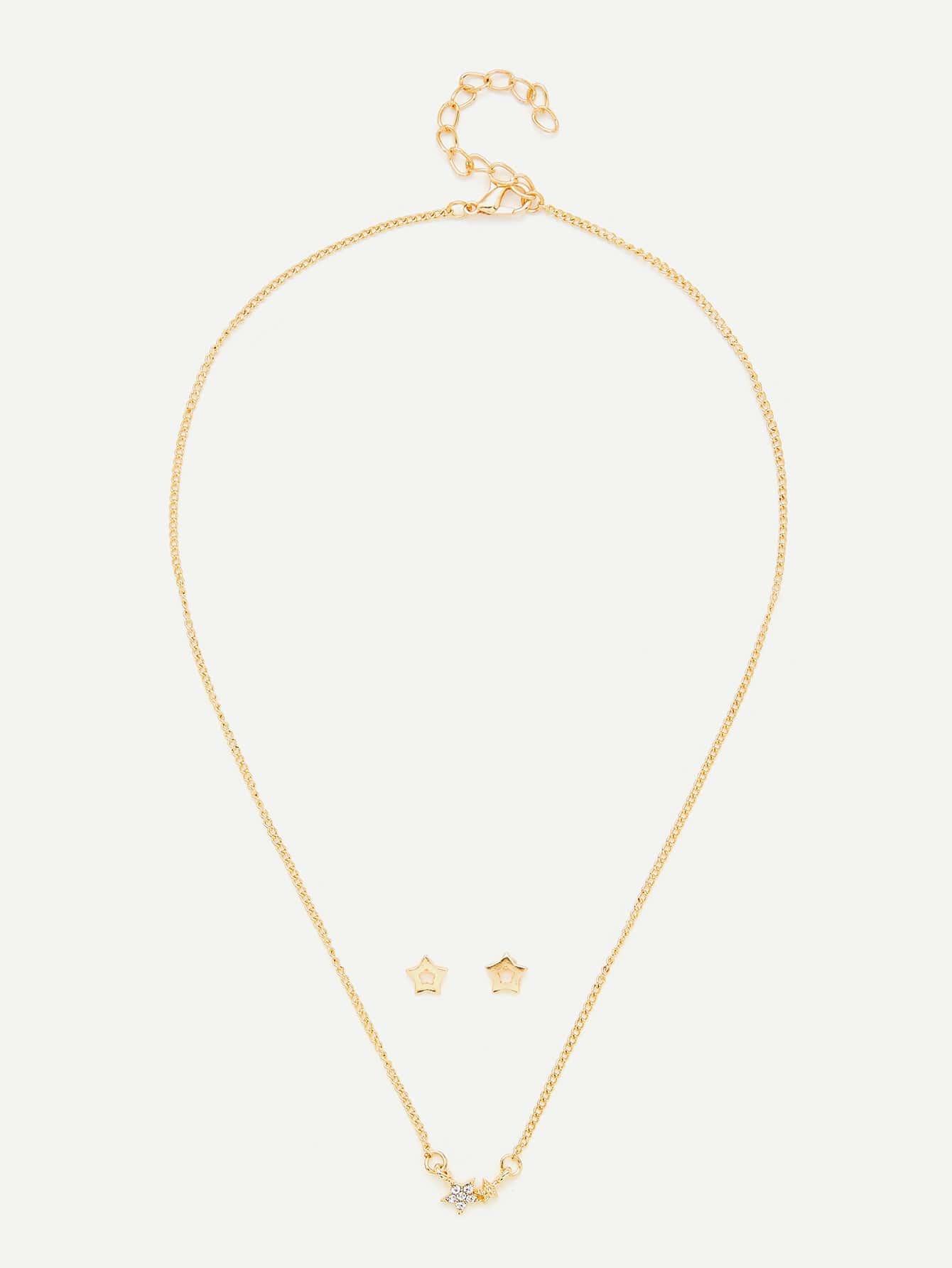 Star Design Pendant Necklace & Earring Set er 3789 stylish retro jewelled pendant earring navy blue 2 pcs