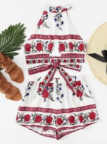 Cut Out Detail Knot Back Floral Top & Shorts Set