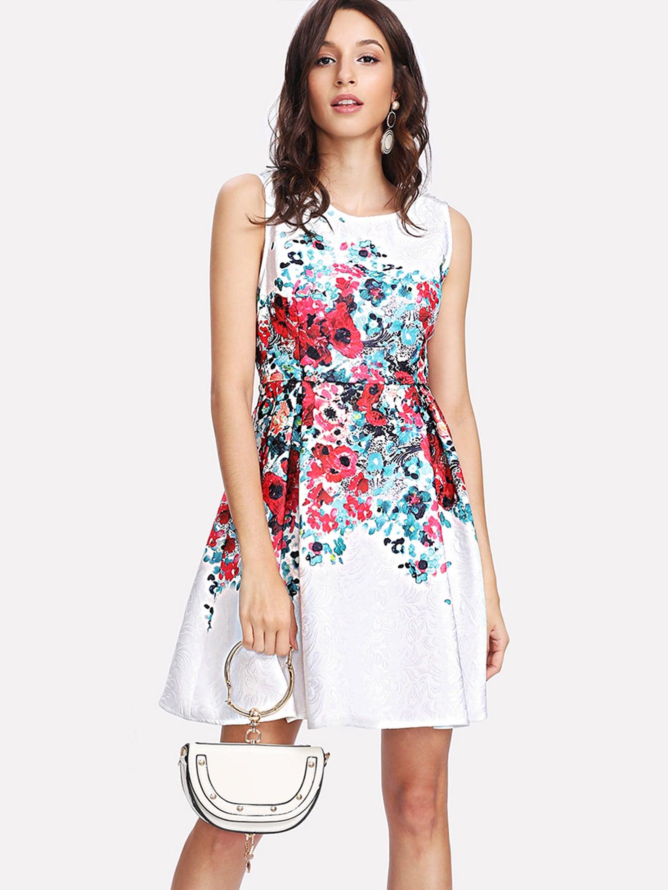 все цены на Boxed Pleated Flower Print Jacquard Dress
