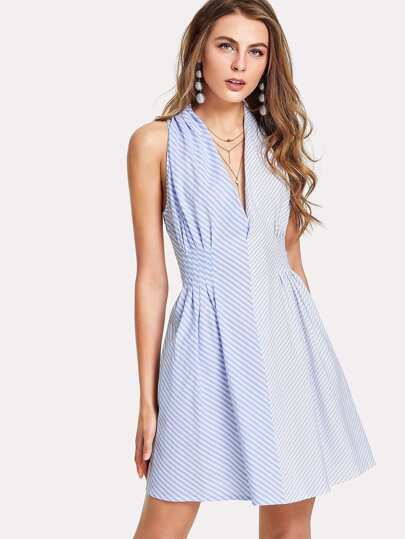 Fold Pleat Detail Mixed Stripe Dress