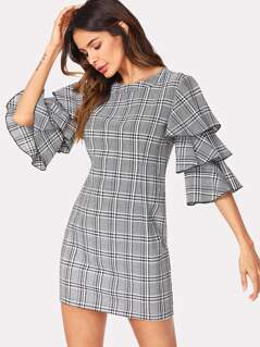 Layered Sleeve Plaid Dress