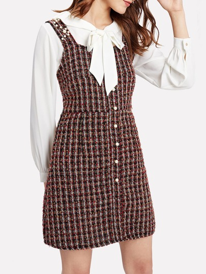 Pearl Beading Tweed Overall Dress